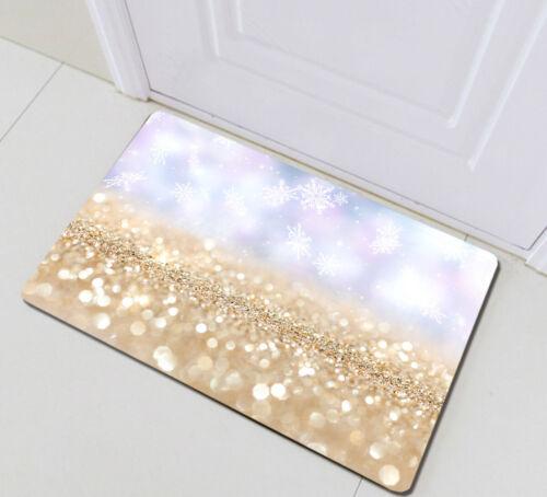 Christmas Snowflake Golden Particles Fabric Shower Curtain Set Bathroom Decor