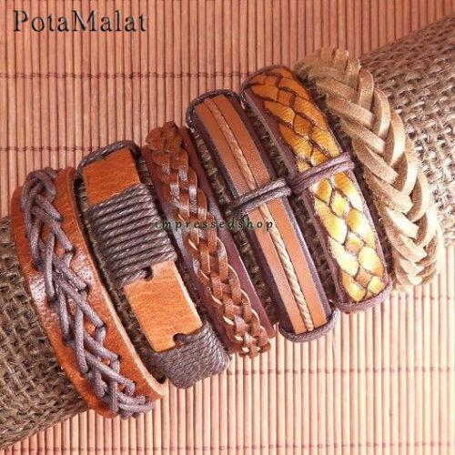 Potamalat 6pcs marron en cuir Wrap Bracelet Cuff Bracelet Bangle Pour Unisexe-D113