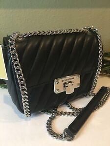 MICHAEL-KORS-PEYTON-SMALL-SHOULDER-CROSSBODY-BLACK-QUILTED-VEGAN-LEATHER-SILVER