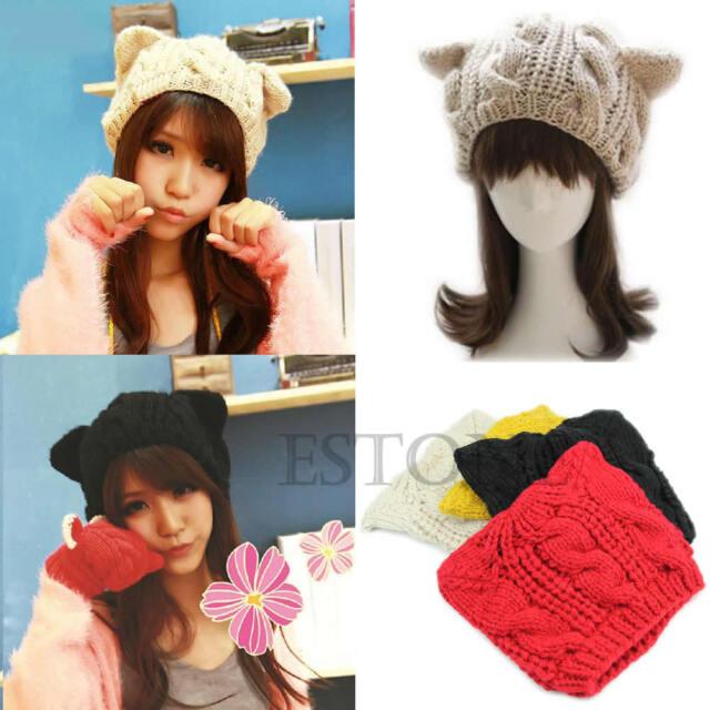 Women Winter Beanie Devil Horns Cat Ear Crochet Braided Knit Ski Wool Cap Hat