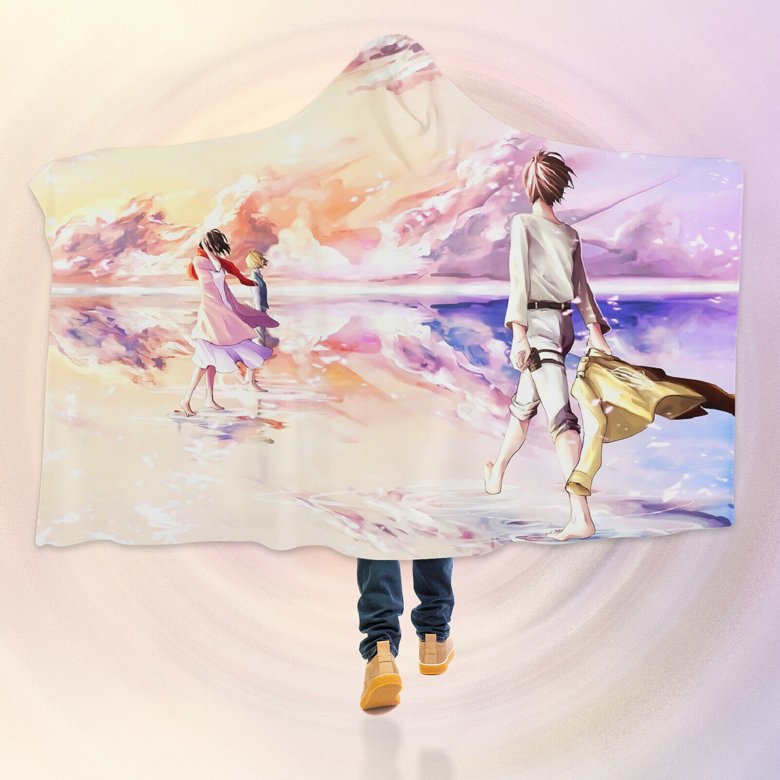 3D Attack On Titan R057 Hooded Blanket Cloak Japan Anime Cosplay Game Zoe