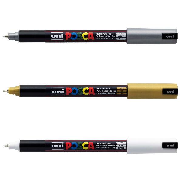 3 x Uni Posca PC-1MR Paint Marker Pen Art Marker - Set of White, Gold and Silver