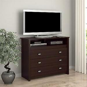 Bedroom Furniture Espresso 3 drawer dresser chest espresso tv stand media storage cubby