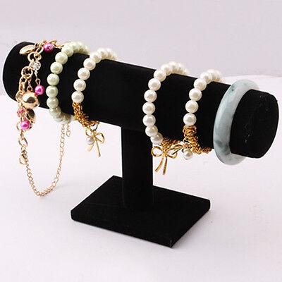 T-Bar Bracelet Chain Watch Rack Velvet Hard Jewelry Display Stand Holder Black