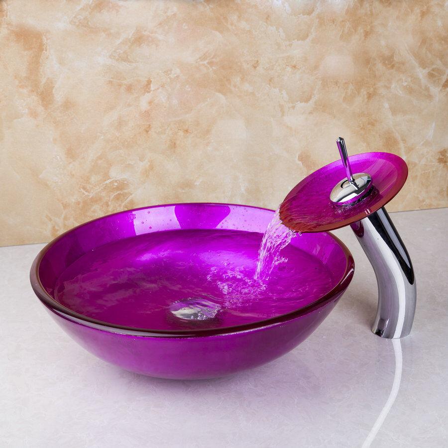 Bassin de salle de bains Main Peinture Rose verre trempé navire évier Chrome mitigeur cascade