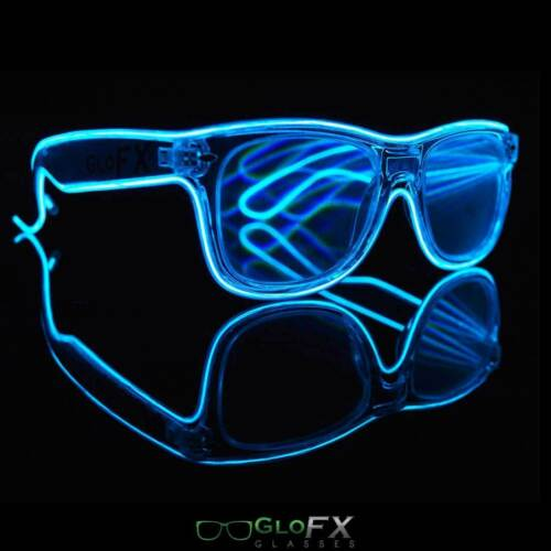 Clear Diffraction Glasses w// Blue lights multi mode battery club accessory USA