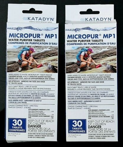 2024 2 PACKS KATADYN MICROPUR MP1 WATER PURIFIER TABLETS 30 TABS PER PACK EXP
