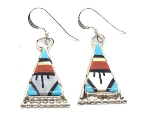 Carol Niha Zuni Handmade Sterling Silver Multistone Inlay French Hook Earrings