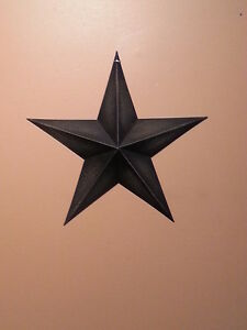 "Set of 3 12/"" RUSTY BLACK BARN STARS Metal Tin Primitive Country Farmhouse Rustic"