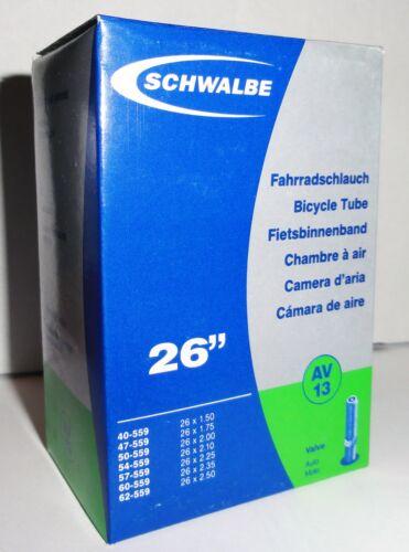 """559 Schwalbe AV13 HIGH QUALITY Bike Inner Tube 26/"""" for MTB Touring Schraeder"""