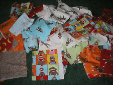 Sock Monkey Fabric SCRAPS   16 squares & 8 scraps in  different patterns
