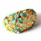 womens vintage ring size 7 8 9 Blue Enamel CZ Flower Rings yellow Gold Filled
