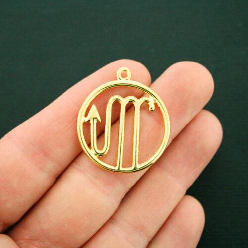 2 Scorpio Zodiac Pendant Charms Antique Gold Tone 2 Sided GC1030