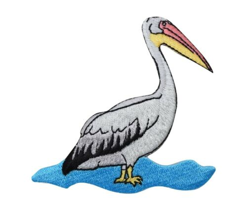 Pelican Bird Standing in Water//Ocean//Beach Iron on Applique//Embroidered Patch
