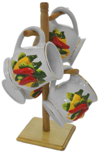 Set 4 Chili Peppers Southwestern 3-D Ceramic Tea Coffee Mugs w Wooden Rack Stand