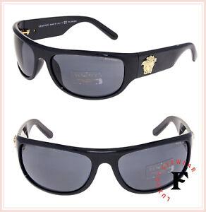 7940e545706 VERSACE Men Gold Medusa Wrap Sunglasses VE4276 Shiny Black Polarized ...