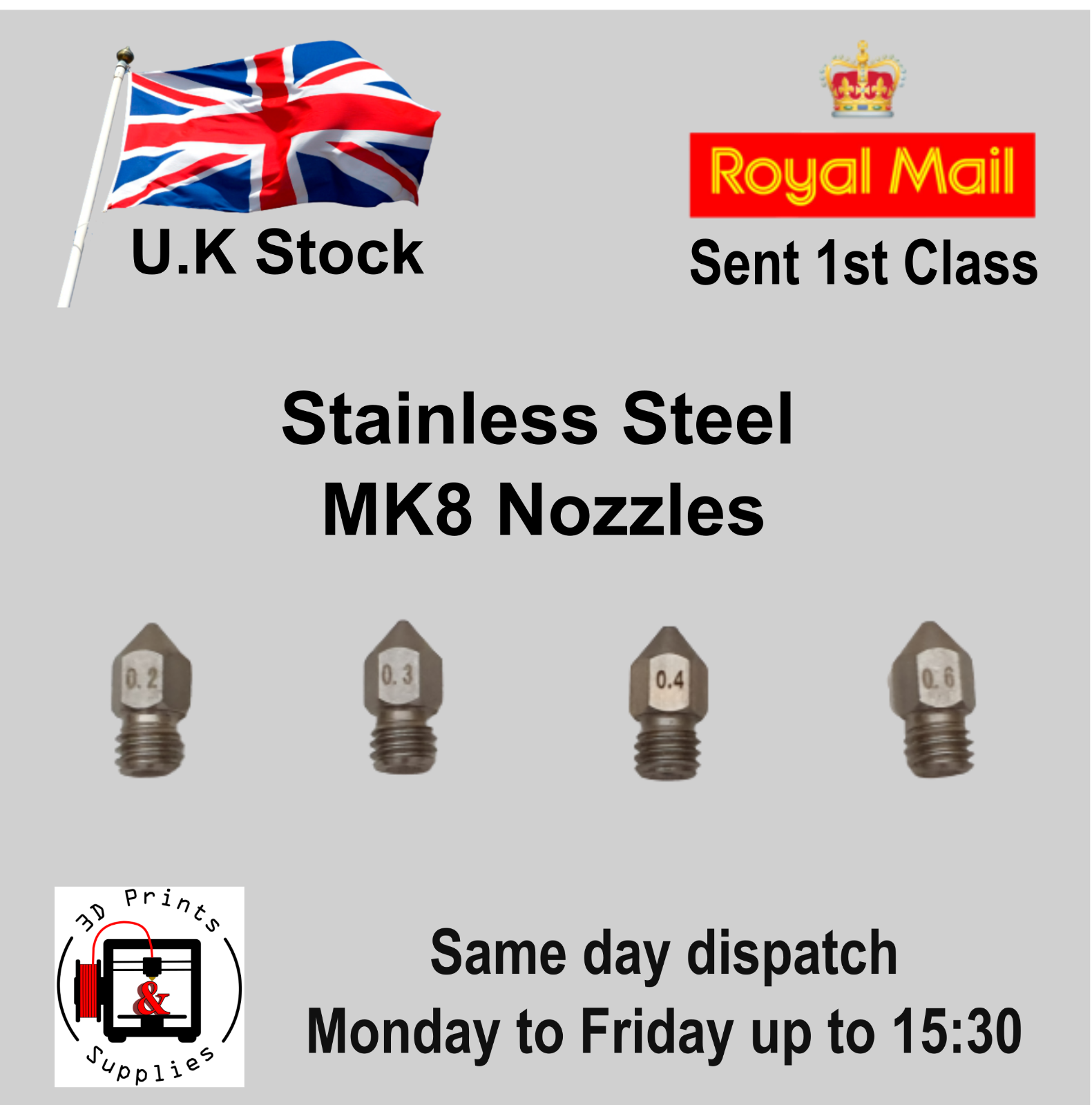 MK8 nozzle - Stainless Steel M6 1.75 extruder nozzle - 0.3