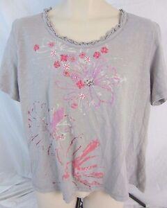 Oleg-Cassini-Embellished-Gray-Floral-Top-Blouse-Shirt-Women-039-s-2X-E171