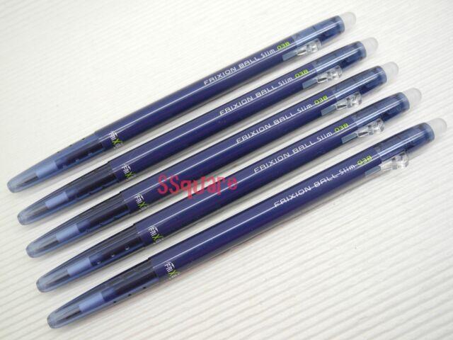 5pcs Pilot FriXion Ball Slim 0.38mm Erasable Rollerball Gel Ink Pen, Blue-Black