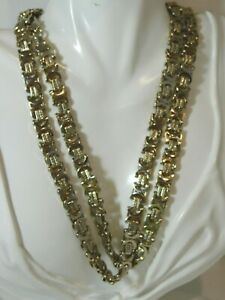 "Vintage Flat Byzantine Link Super Chain Silver tone 36"" Long Necklace Ci 84"