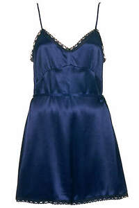 BNWT-Midnight-Blue-Lace-Trim-Silky-Playsuit-Size-10-RRP-48
