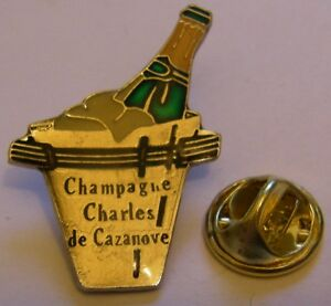 CHAMPAGNE-CHARLES-de-CAZANOVE-French-Wine-vintage-pin-badge