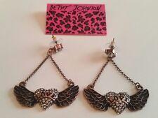 BETSEY JOHNSON LOVE Heart Angel Wing Earrings Coppertone Posts