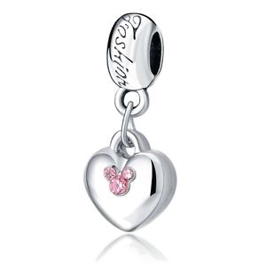 Silver Plated Disney Minnie Twin Heart Pendant Charm fits 925 European Bracelets