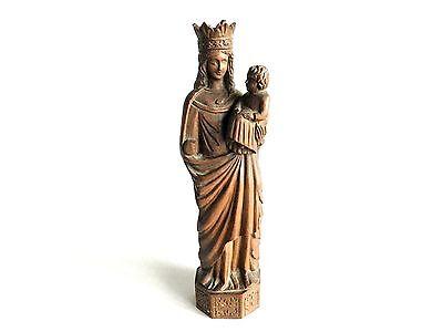 Rare Unique Virgin Mary, Sculpter Lucien Tessey Vierge de Reims Statue Wood