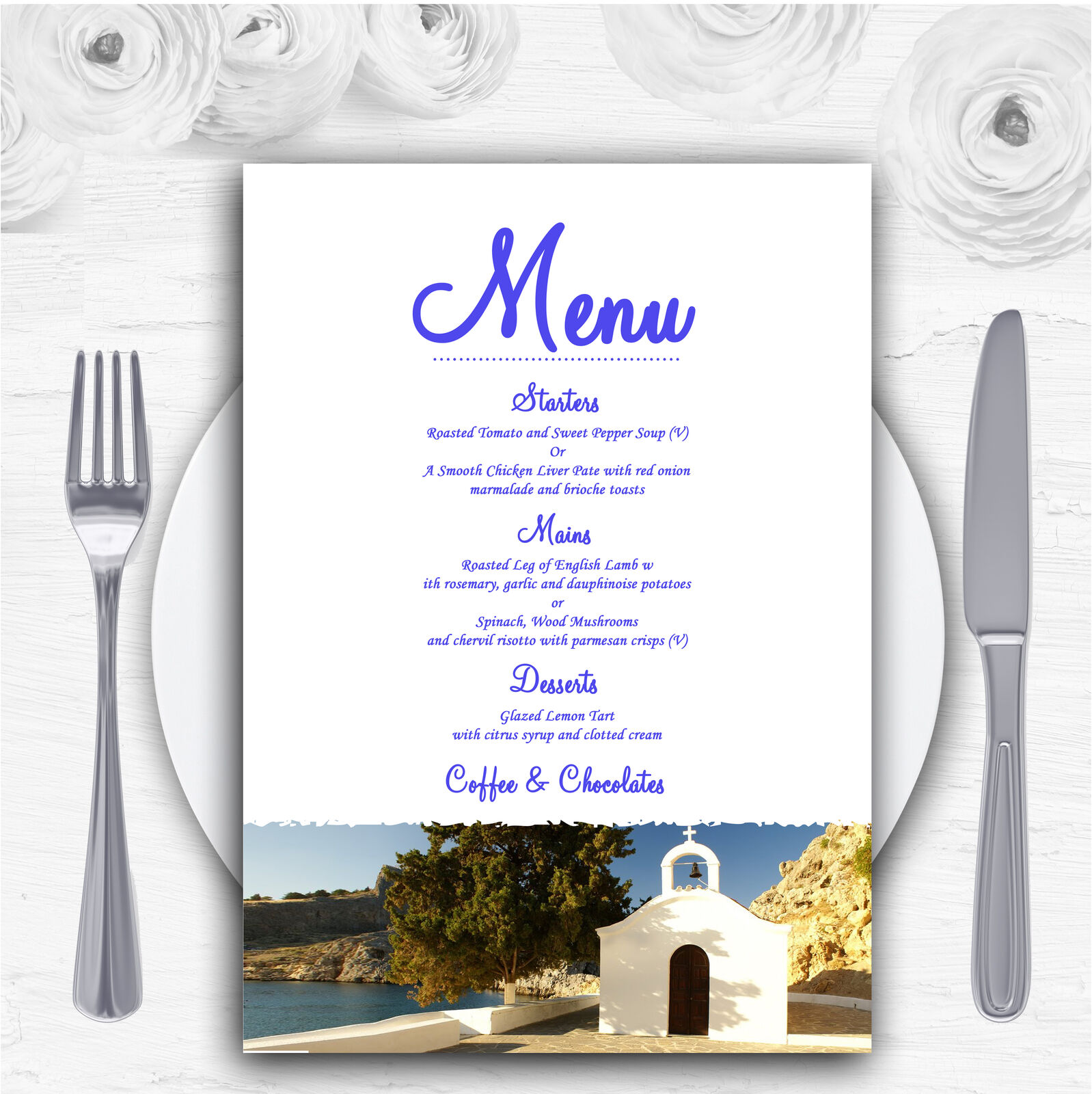 St Pauls Lindos Rhodes Personalised Wedding Menu Cards