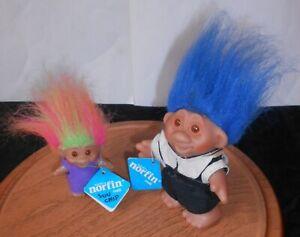 "Tiny Ones 3/"" Norfin Dam Troll Doll Original Lot of 2 w// Green /& Orange Hair 1985"
