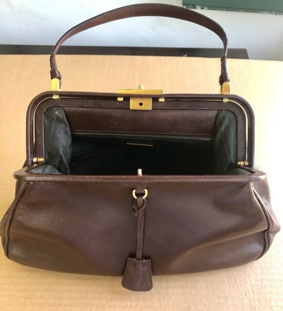 Prada Leather Purse Madras Cerniera