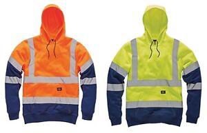Hi Vis Two Tone Hoodies Safety Fleece Sweatshirt Work Tops GO//RT Compliant Jumpers