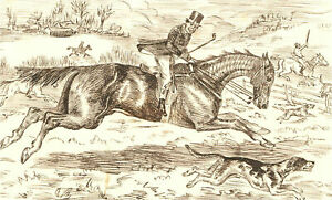1866 Pen and Ink Drawing - The Fast Horse