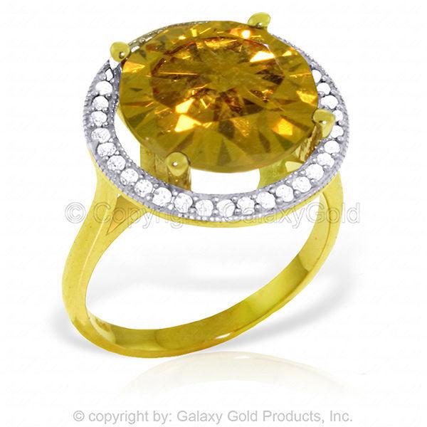 Genuine Citrine Round Cut Gem & Diamonds Halo Ring 14K Yellow, White,  pink gold