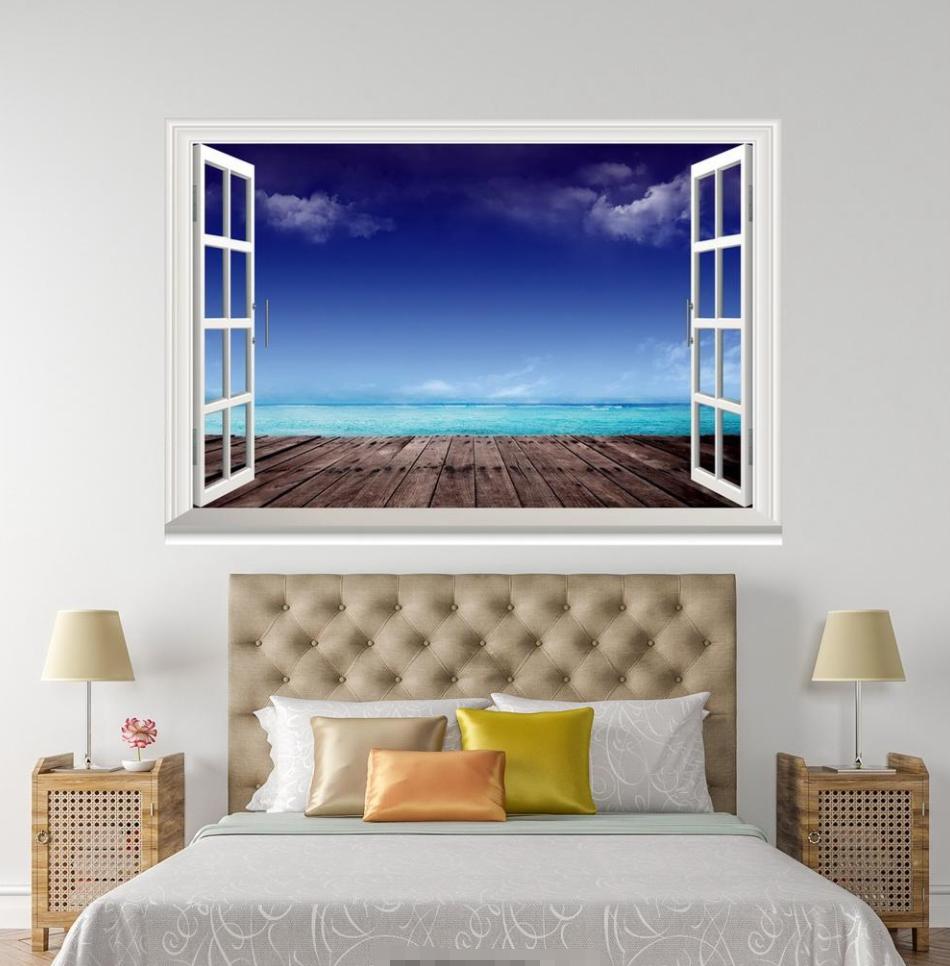 3D Board Bridge 43 Open Windows WallPaper Murals Wall Print Decal Deco AJ Summer
