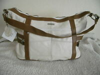 WOMEN'S STYLISH NEW LARGE  REAL LEATHER WHITE/TAN SHOULDER BAG HANDBAG TOTE 3776