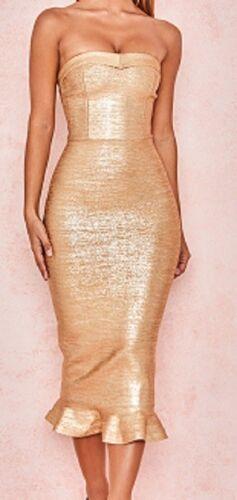 Fluted Womans 6 Rayon Celeb Gold Taglia Fabrizia Dress New 14 10 8 12 Hem Bandage fRxwqBqd