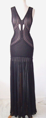 ROBERTO CAVALLI Black Stretch Sheer Crochet Cut Out Dress Gown 38 2 4