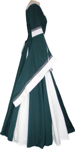 Mittelalter Karneval Larp Gewand Kleid Kostüm Guinevere Dunkelgrün-Ecru XS-XL