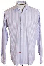 """Hugo Boss Mens 16"""" x 34-35"""" Light Blue Striped LS Button Front Shirt"""