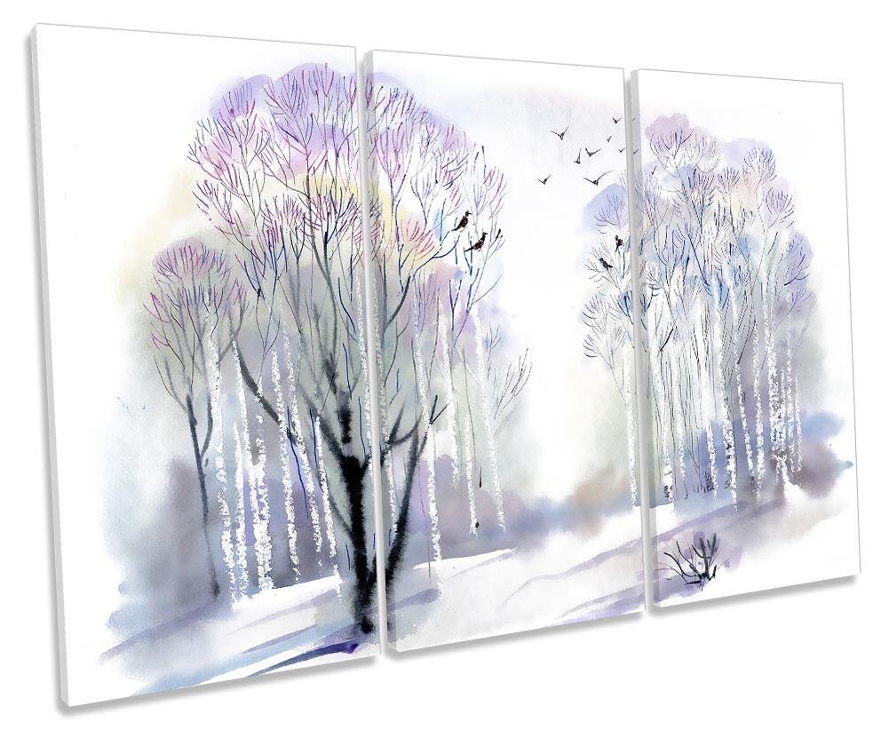 FORESTA invernale neve bianca incorniciato Treble stampa art. a a a muro 0d261a