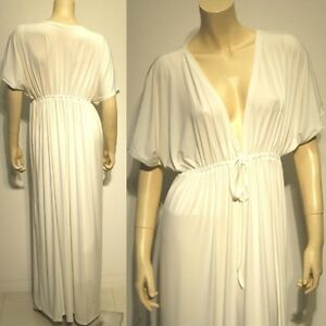 Details about NWT Plus Size L XL 2XL NEW Off-White Ivories Siam Trendy  Sleeve Long Maxi Dress