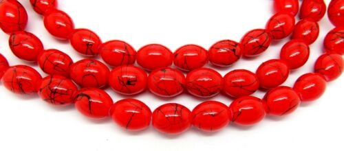 Red Drawbench Oval Glass Beads 75+ Beads 11mm x 8mm Per Strand P00226XG