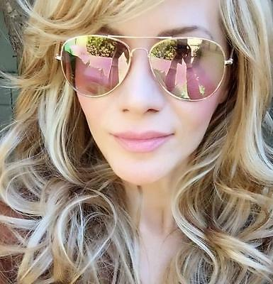 Fashion Pale Pink Rose Yellow Mirror Gold Metal Flat Lens Hot Aviator Sunglasses Ebay
