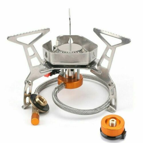 Details about  /Outdoor Camping Gas Stove Portable Foldable Windproof Cooking Burner w//Adapter