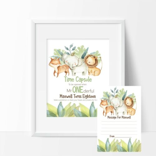 1st Birthday DIY Jungle Animals Time Capsule Sign /& Message Cards