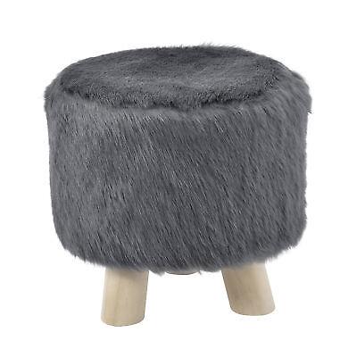 [en.casa]® Siège tabouret gris fausse fourrure rembourré tabouret rembourrage