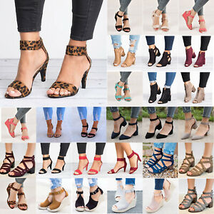 Women-Mid-Heel-Block-Ankle-Strap-Sandals-Buckle-Peep-Toe-Casual-Beach-Pump-Shoes