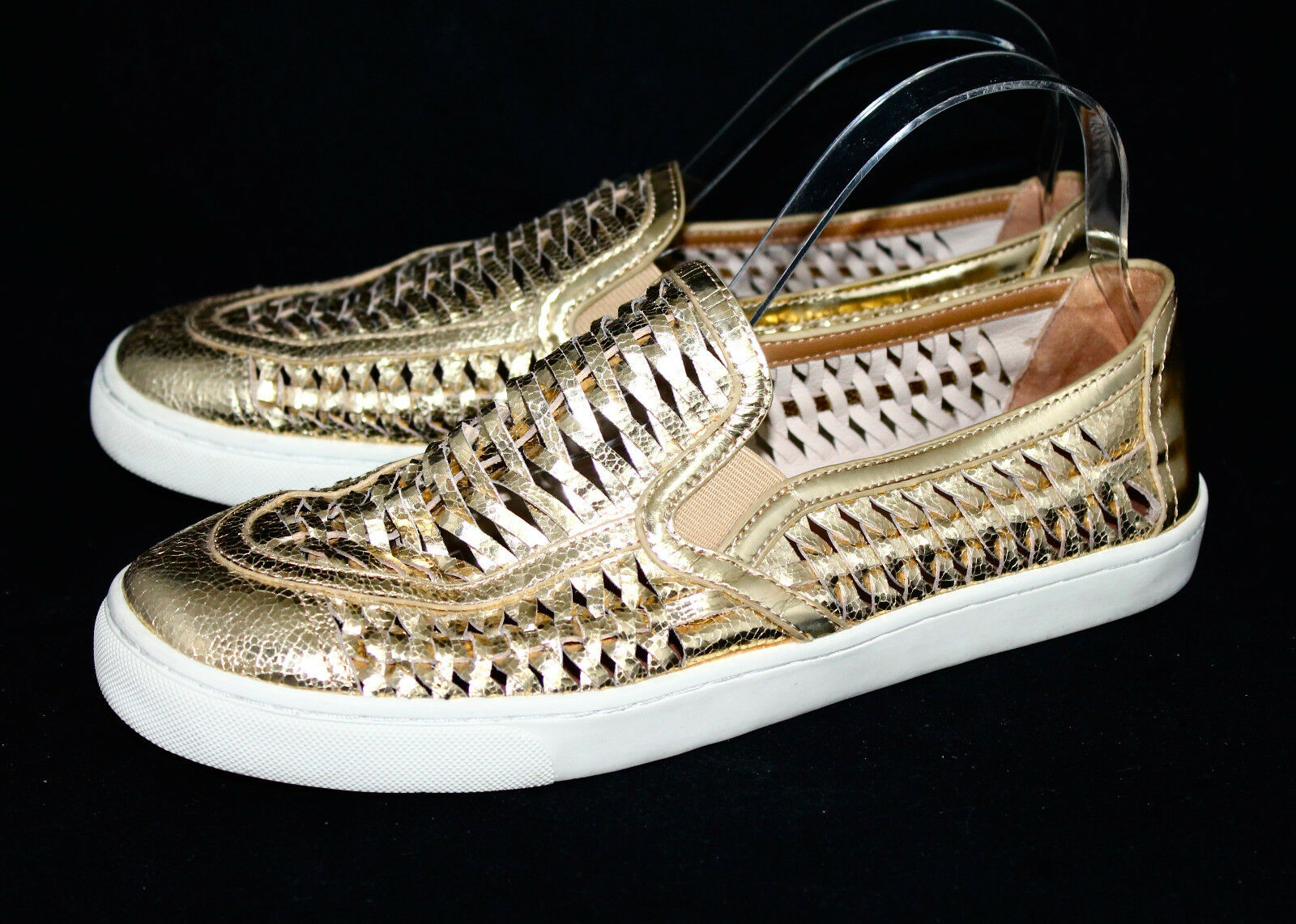 TORY BURCH Wo's 10.5M Metallic gold Woven Leather Huarache Slip Ons Loafer